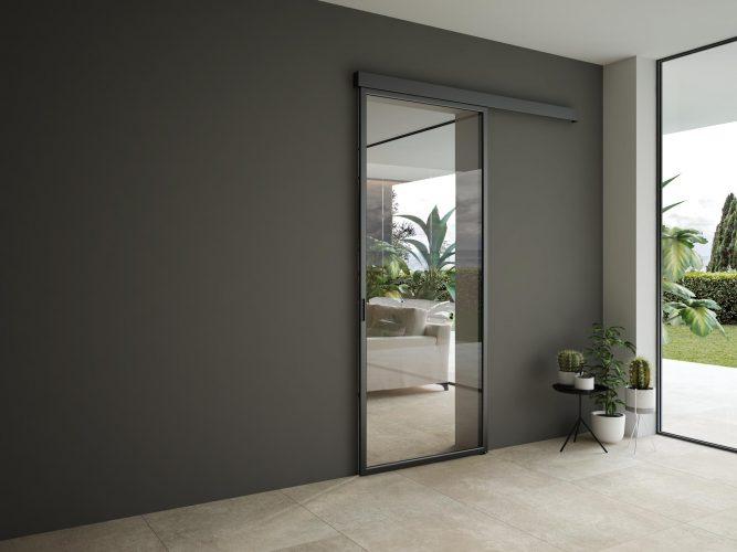 porta scorrevole vetro alluminio