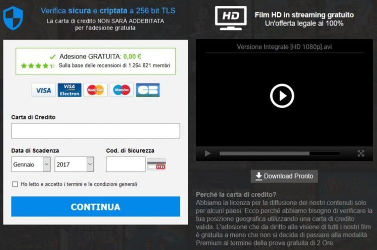 siti streaming carta di credito